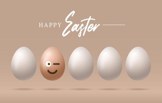 Oeufs de pâques heureux avec illustration de visage emoji souriant mignon
