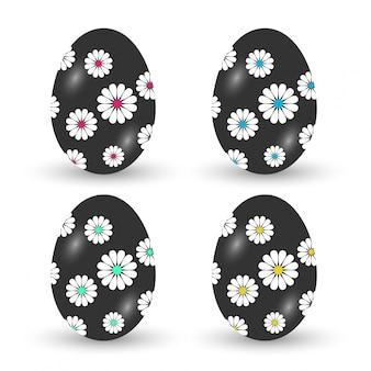 Les oeufs de pâques icônes vector illustration des œufs de pâques pour pâques vacances dessin sur fond blanc