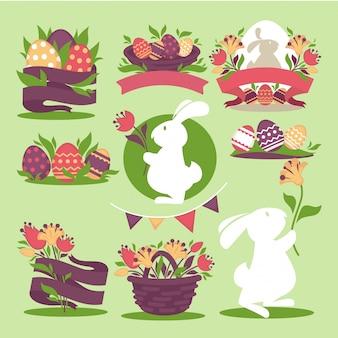 Oeufs de pâques et lapin tenant le printemps