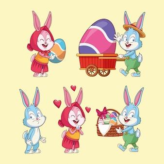 Oeufs de pâques et lapins