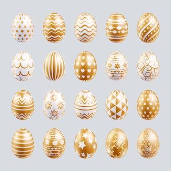Oeufs de pâques mis en couleur or avec différentes formes