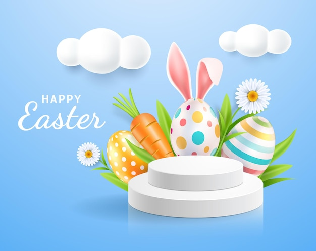 Oeufs de pâques et oreilles de lapin avec présentoir et fond de fleurs de marguerites.