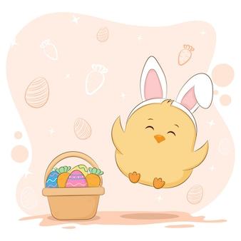Oeufs et poussin de pâques mignon