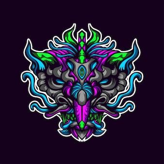 Oeuvre abstraite de tête de dragon