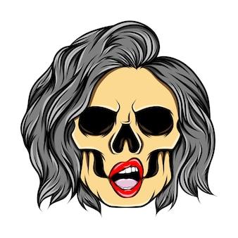 L'œuvre d'art du crâne de fille avec les yeux de trou et retourné sous les extrémités du style de cheveux d'illustration