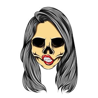 L'œuvre d'art de l'inspiration de tatouage du crâne de femme avec les cheveux longs ondulés de l'illustration