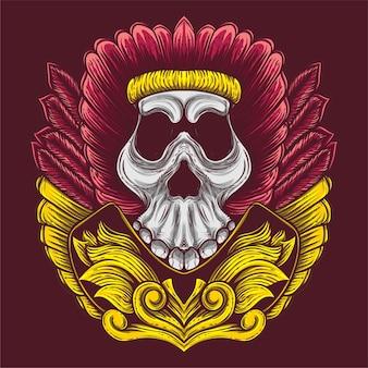 Oeuvre de crâne de culture indienne