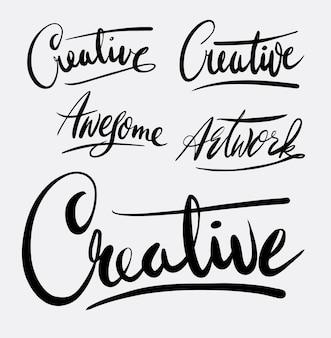 Oeuvre créative et impressionnante calligraphie d'écriture