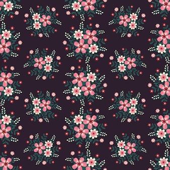 Oeuvre florale pour tissus à la mode et pour vêtements, style lierre guirlande de fleurs roses avec branche et feuilles. fond de modèles sans soudure.