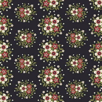 Oeuvre florale pour vêtements et tissus à la mode, été, style lierre de guirlande de fleurs avec branche et feuilles. fond de modèles sans soudure.