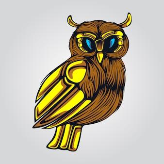 Oeuvre de hibou ailes d'or
