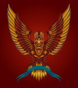 Oeuvre d'illustration d'aigle de thème de robot