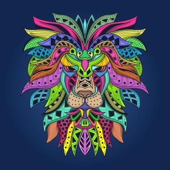 Oeuvre de lion colorée