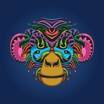 Oeuvre de singe de couleur
