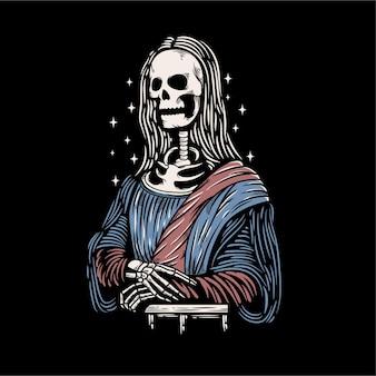 Oeuvre de squelette monalisa vintage