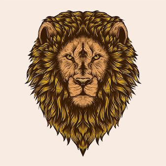 Oeuvre de tête de lion mâle