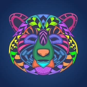 Oeuvre de tête d'ours colorée