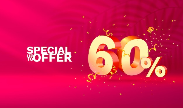Off discount composition créative d symbole de vente avec des objets décoratifs podium de confettis dorés et g...