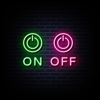 Sur off neon signs style text vector
