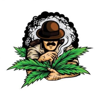 Un officier avec de la marijuana