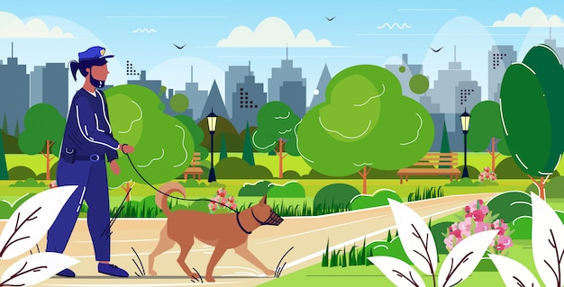 Officier de police marche avec berger allemand policier en uniforme avec chien sécurité autorité justice loi service concept parc public paysage urbain