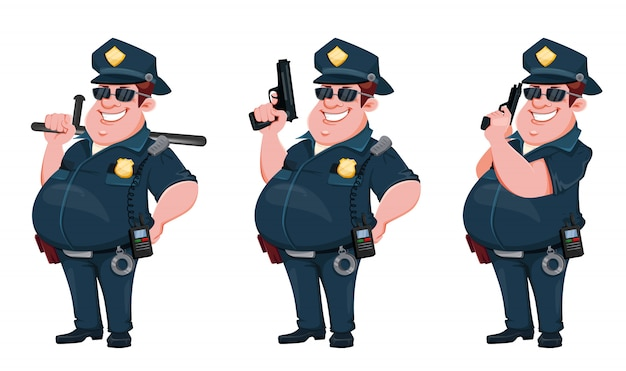 Officier de police. personnage de dessin animé drôle