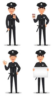 Officier de police, policier. ensemble
