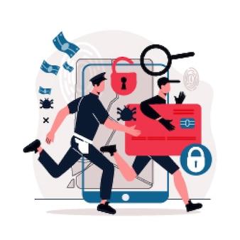 Officier de police poursuivant un pirate informatique tenant une illustration plate de carte de crédit