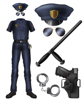 Officier de police ou uniforme de garde du service de sécurité, arme, accessoires de dessin animé.