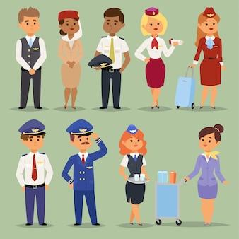 Officiers Pilotes De Bord Agents De Bord Personnes Hôtesses De L'air Et Pilotes Agents De Bord Vecteur Premium