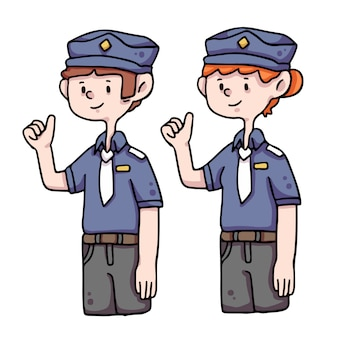 Officiers de police frontliners illustration mignonne