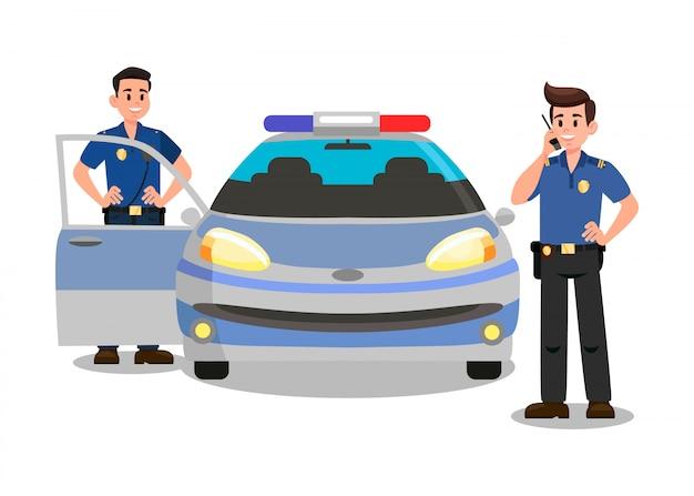 Officiers de police avec personnage de dessin animé walky talky