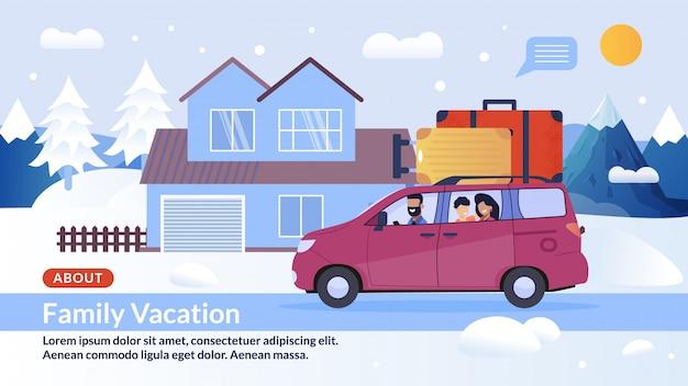 Offre de bannière de page web vacances hivernales en famille