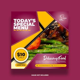 Offre colorée délicieux menu spécial minimal créatif restaurant nourriture délicieuse bannière de médias sociaux