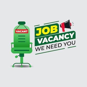 Offre d'emploi avec chaise de bureau vide