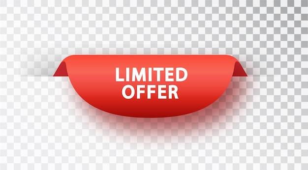 Offre limitée de bannière rouge. étiquette de vecteur rouge isolé sur fond transparent.