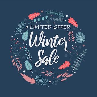 Offre limitée de vente d'hiver avec un beau modèle de feuille