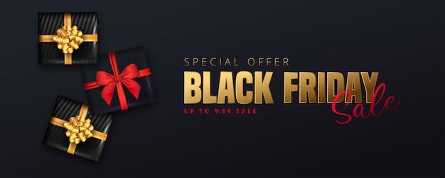 Offre de réduction de 50% sur le lettrage noir du vendredi, boîtes-cadeaux noires sur fond noir. peut être utilisé comme affiche, bannière ou modèle.