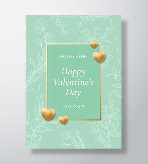 Offre spéciale affiche de carte de voeux de vecteur abstrait saint valentin ou fond de vacances menthe chic ...
