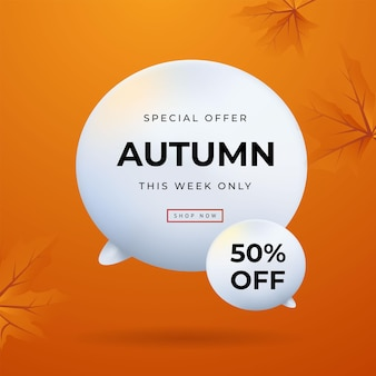Offre spéciale d'automne laisse illustration vectorielle de fond