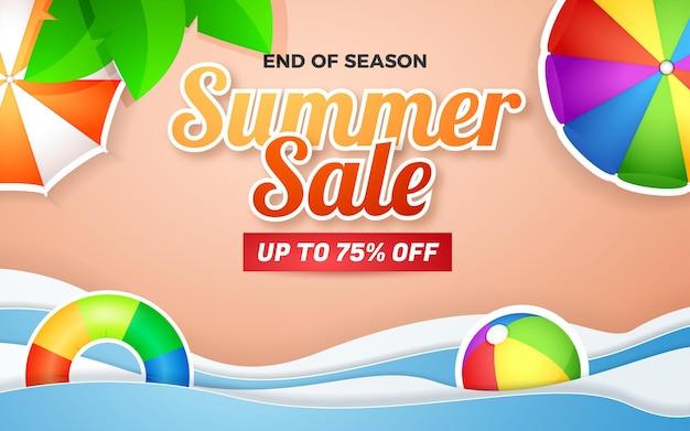Offre spéciale de bannière de vente d'été avec une belle plage style de coupe de papier de fond