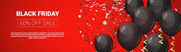 Offre spéciale du vendredi noir, bannière de vente panoramique horizontale avec montgolfières et modèle de texte