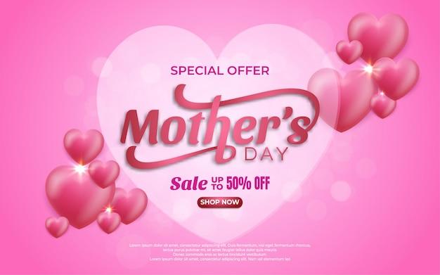 Offre spéciale fête des mères 50 bannière de vente avec des coeurs