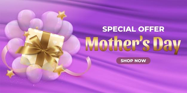 Offre spéciale fête des mères 50 bannière de vente avec forme personnalisée blanche et réduction sur l'étiquette rose