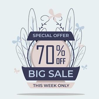 Offre spéciale grande vente discount badge autocollant vecteur de conception de couleur pastel pour votre conception de promotion