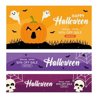 Offre spéciale d'halloween avec des crânes de fantômes et un design de citrouille, achetez maintenant et thème de commerce électronique.