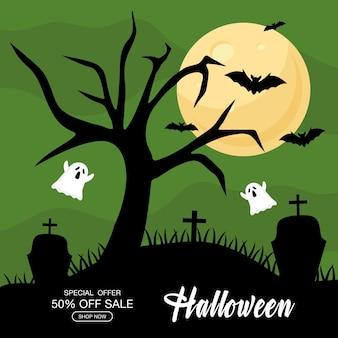 Offre spéciale halloween avec des dessins animés de fantômes à la conception du cimetière, achetez maintenant et thème du commerce électronique.