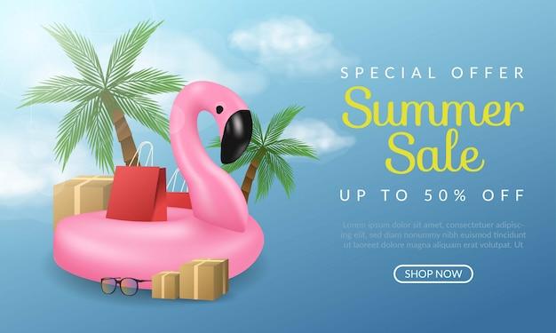 Offre spéciale illustration de bannière de vente d'été avec flamant rose et cocotier sur fond bleu