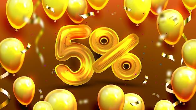 Offre spéciale de marketing de cinq ou cinq pour cent