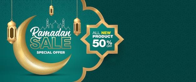 Offre spéciale ramadan vente ornement islamique croissant de lune et modèle de bannière de lanternes.